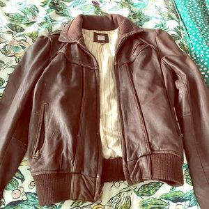 Aqua brown leather bomber jacket